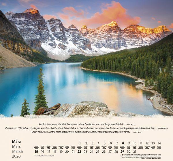 Berge-Montagnes-Mountains 2020 Wandkalender
